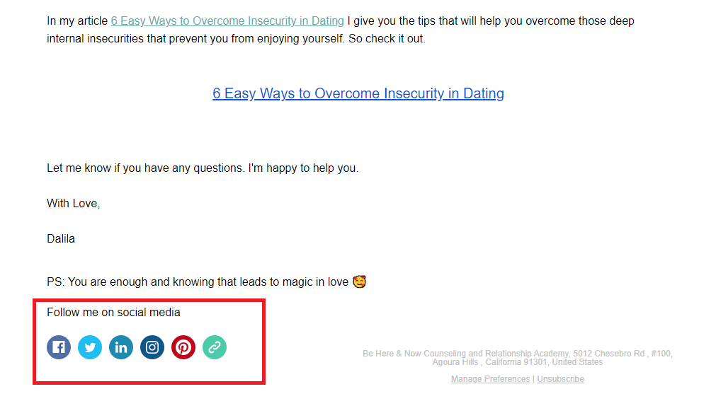 Social media in email marketing