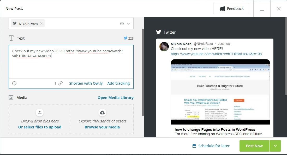 Promote videos via Hootsuite, promotion automation
