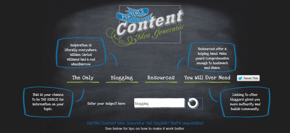 Content Idea Generator from Portent