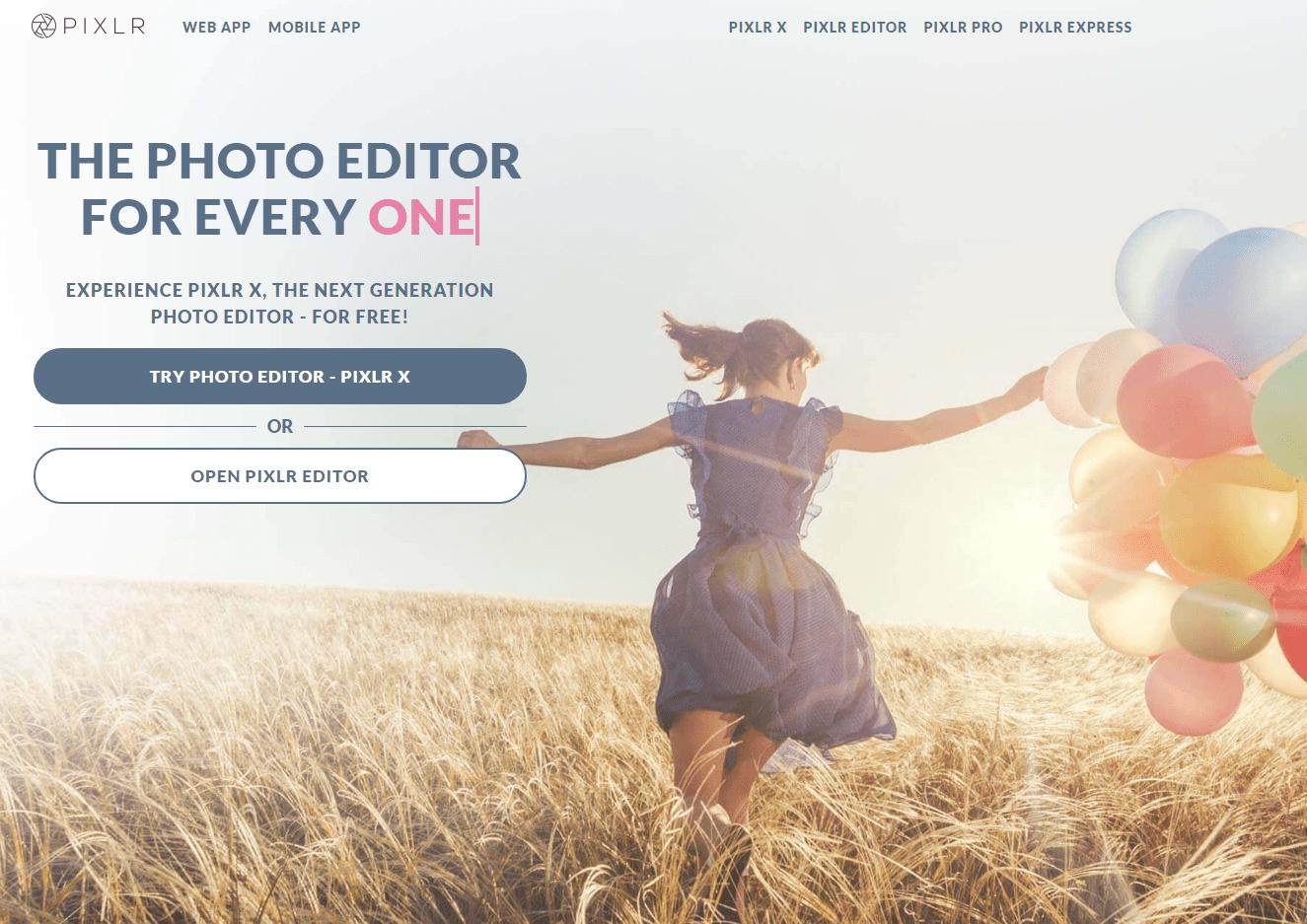 Pixlr photo editing software