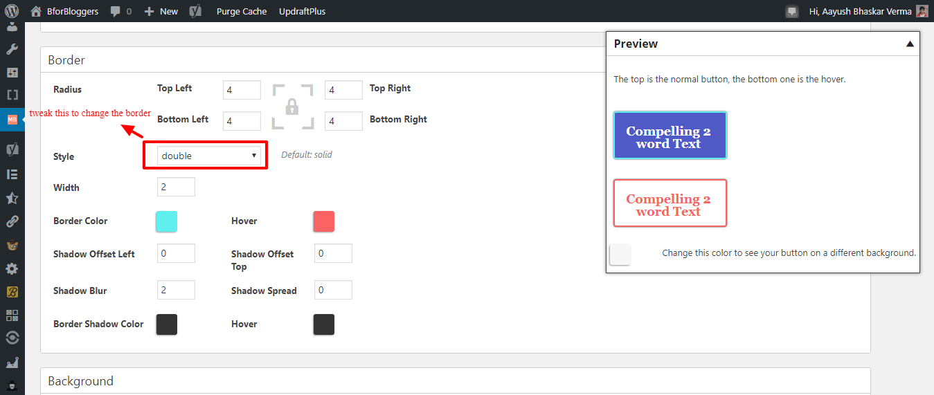 editing the button border and border color to match wordpress theme