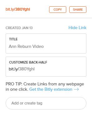 Shortened video link