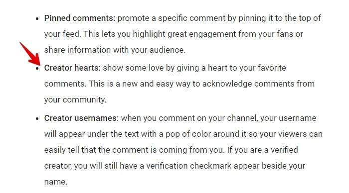 Give hearts to great comments