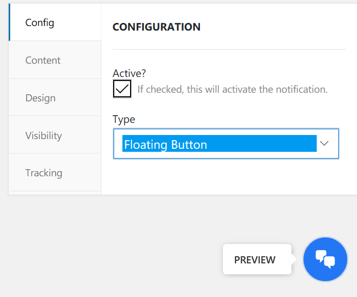 Preview of floating button-settings