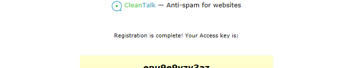 Access key allotted after sign-up is complete