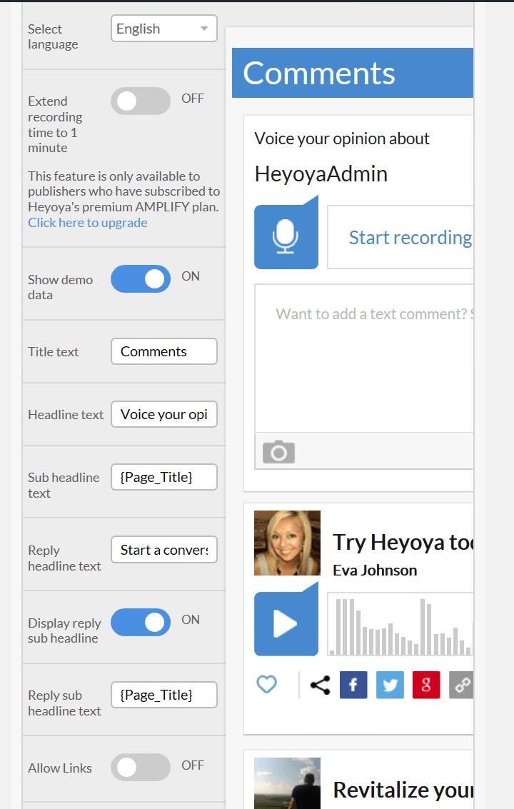 Heyoya basic settings