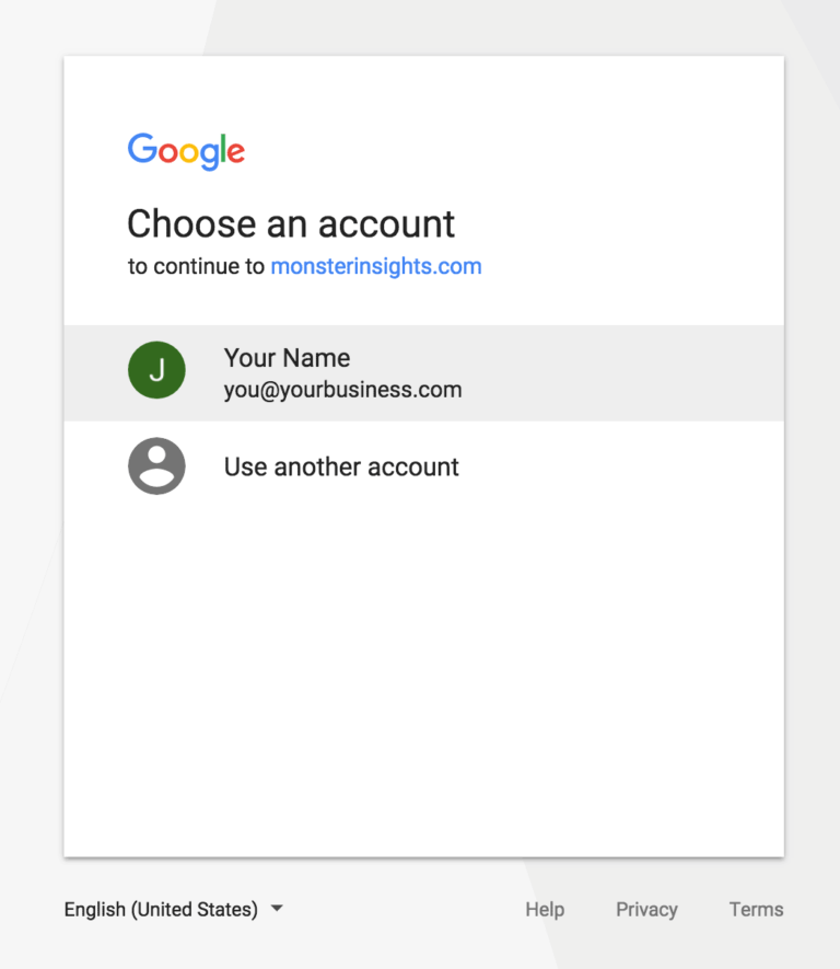 MonsterInsights-Authentication-Step 2- select the-preffred-gmail-account