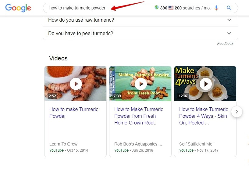 Video keywords in google search