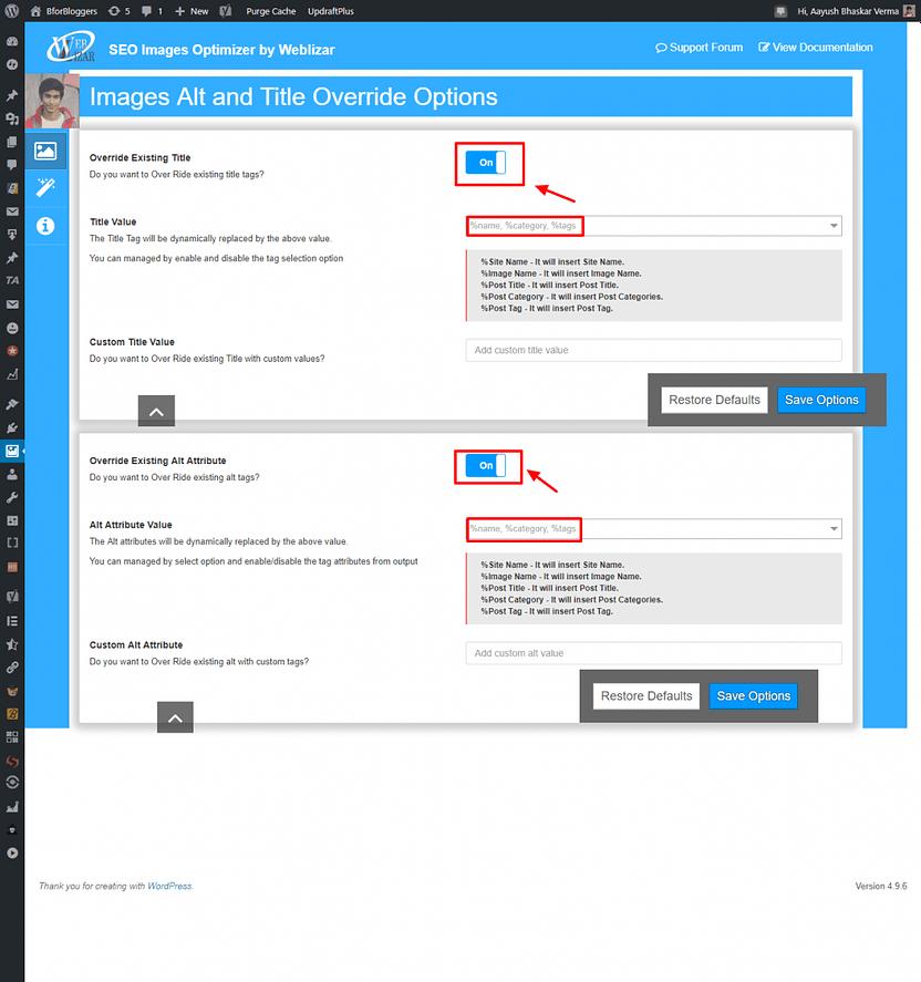 SEO Images Optimizer by Weblizar proper settings