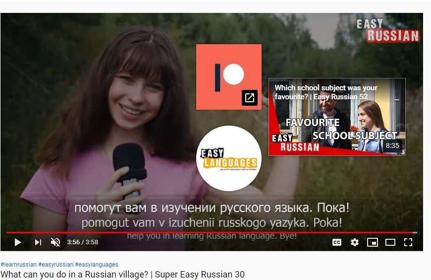 End screen example 2- Easy Russian YouTube channel